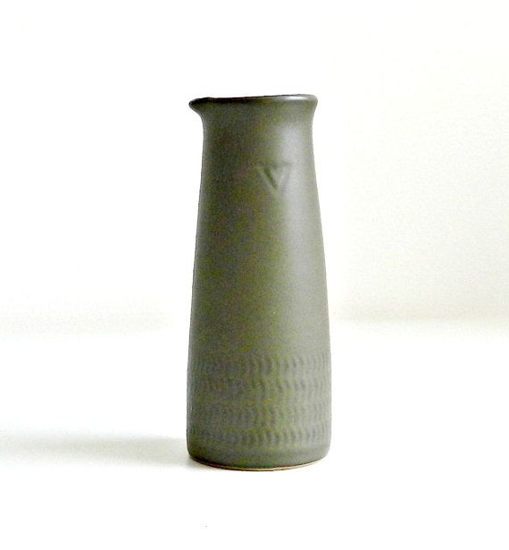 Vintage Denby Camelot Small Pitcher Mid Century Modern Pottery Dark Green Chevron Wonderfully shaped mid century modern Denby/Langley small pitcher