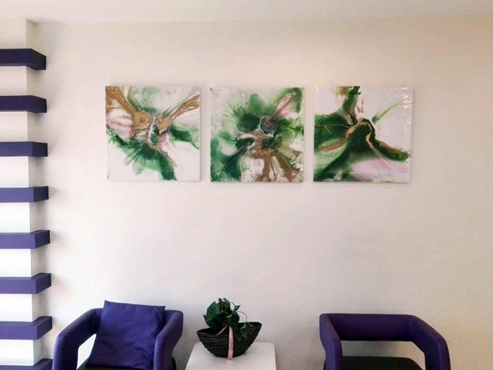لوحات تجريدية مرسومة يدويا بألوان مستوحى من الطبيعة من مجموعة Fluid Art بالتعاون مع Michlenart متوفرة الآن يمكنك طلب لوحتك بالألوان التي تناسب بيتك و Fluid Art