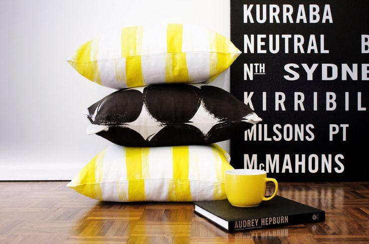 Summer. Interior design. Bold. yellow and black. Cushions.
