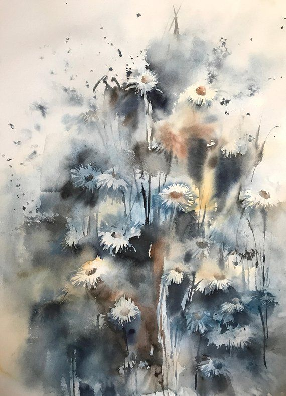 Daisy Flowers Original Watercolor Painting Blue Loose Style