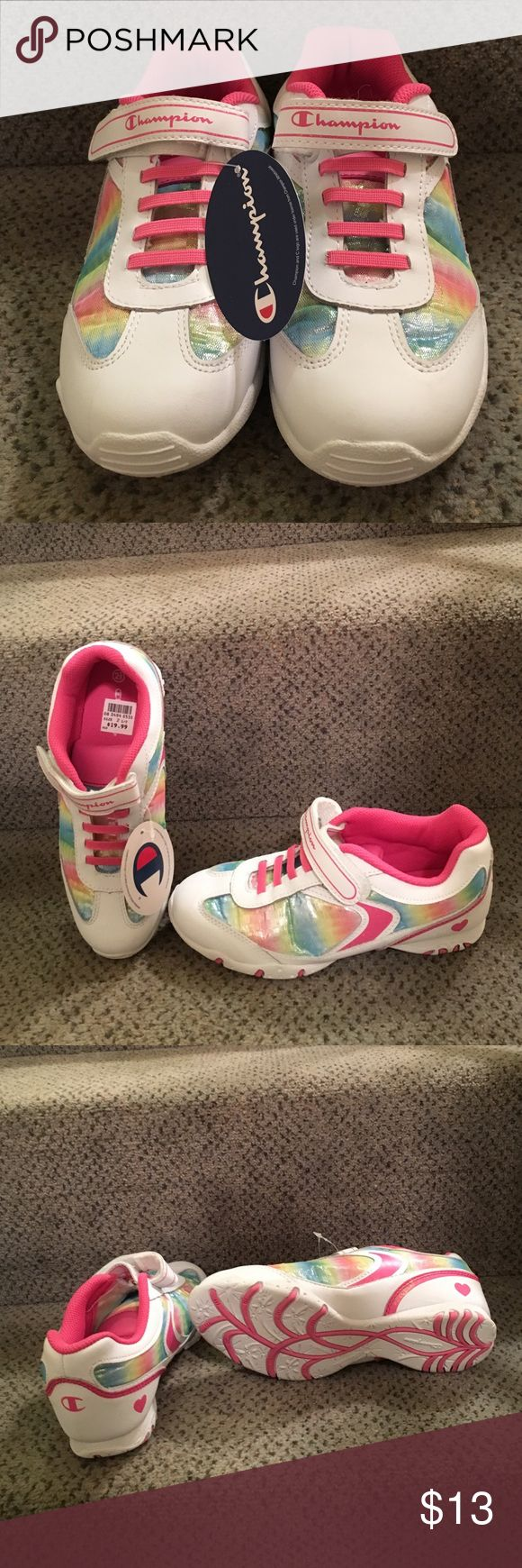 NIB Champion girl Rainbow Sparkle Jog 2.5 Sneakers Pretty rainbow Champion girl sneakers with a Velcro strap and webbed pattern on the bottom. Includes original box and packaging. Never worn. Champion Shoes Sneakers