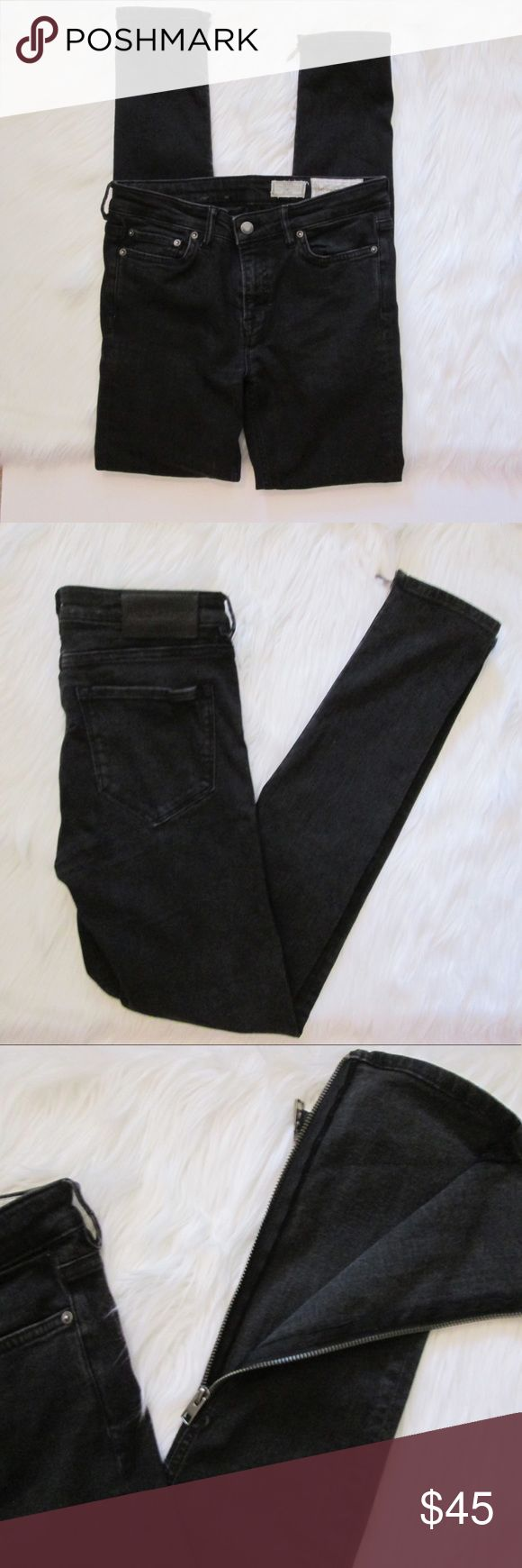 ALLSAINTS rail low rise skinny fit black zipper These skinny ankle zip jeans are on trend for Fall! Great gently used condition! Only flaw is small hole under one of the belt loops— pictured above. Not notable when worn.   Measurements: Waist 29 Inseam 30 Length 39 All Saints Jeans Skinny