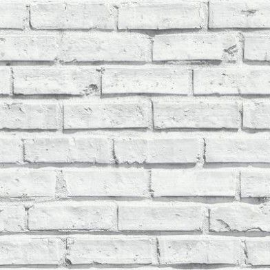 White Brick (623004) - Arthouse Wallpapers - A realistic looking brick effect wallpaper, shown here in a bright white colourway - perfect for a contemporary look. Please request sample for true colour match.
