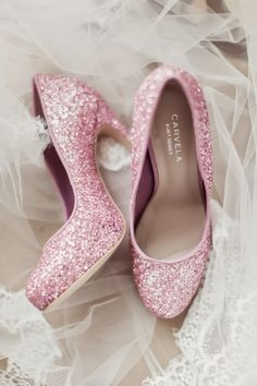 Peonie Cole At Home: Pink and glittery Carvela bridal shoes. Photograph by Craig and Eva Sanders.