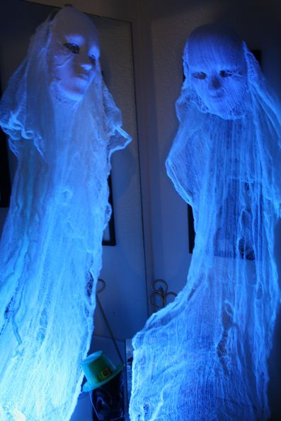cheesecloth ghosts by HF member. Mask, cheesecloth soaked in RIT Dye whitener.