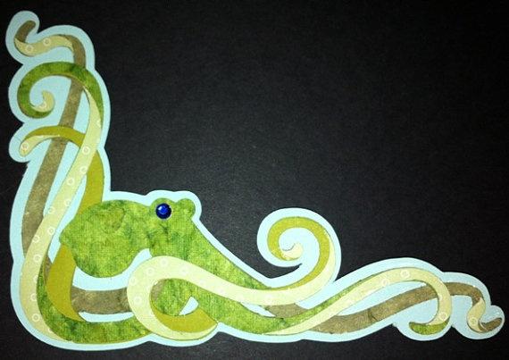 Die cut green octopus by vettro on Etsy, $7.00: Crafty Stuff, Elegant Octopus, Die Cut, Green Octopus, Cut Green, Cricut Machine