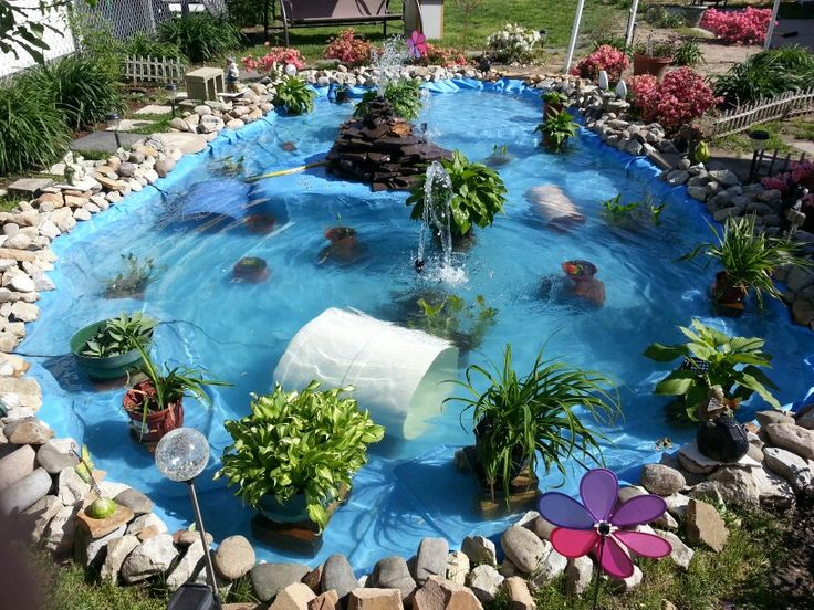 Ponds by becky great idea a family friend made with a for Koi pond pool