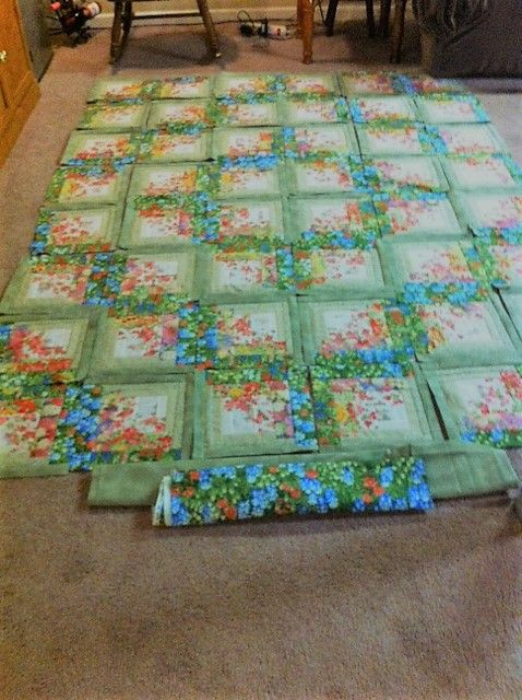 Finally finished my floral log cabin blocks