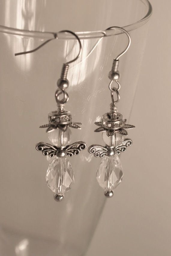 Earrings angels in svarowski glas and by Lisbethstafnedesigns