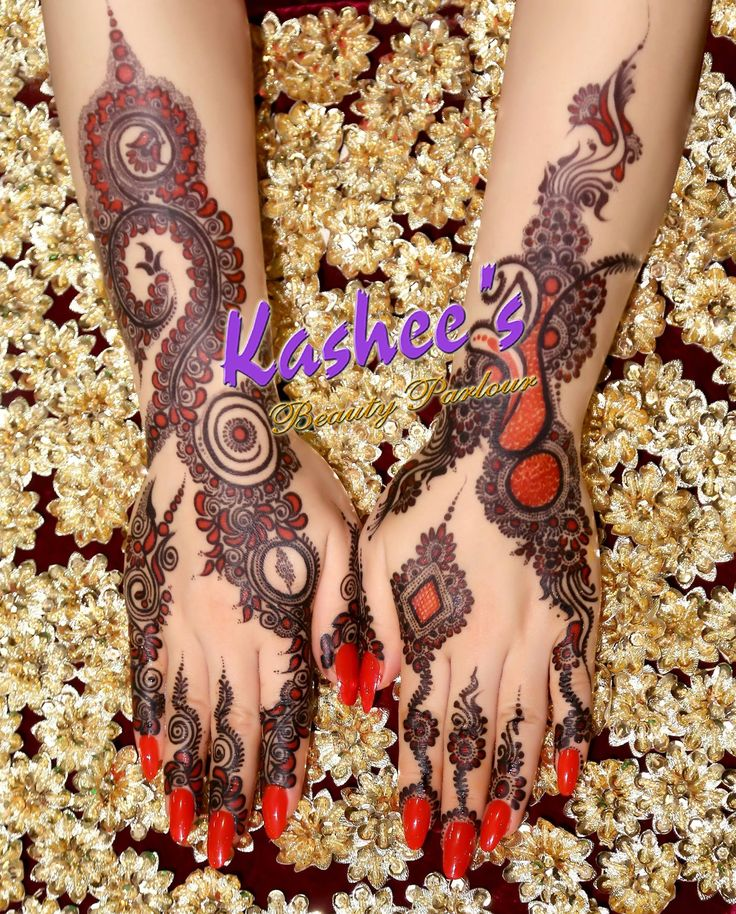 Beautiful red and black mehndi design by kashee 's beauty parlour
