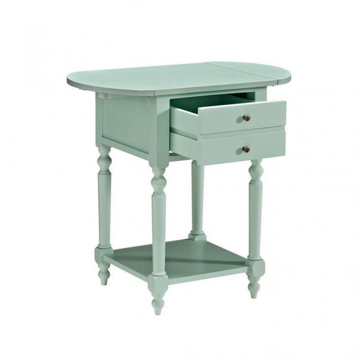 Powell 16a8258a Shiloh Aqua Finish Wood Drop Leaf Chair Side End Table With Drawer End Tables With Drawers End Tables Table