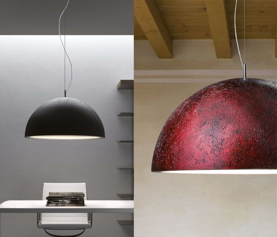 Scaleo: Suspension lamp in decorated alluminium with materical color mixtures in grained white /silver leaf and red/gold leaf
