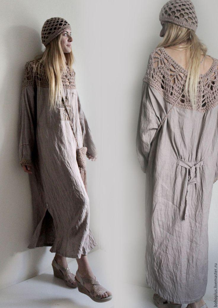 """Купить Платье из льна """"Серафима бежевый пепел"""" - бежевый, однотонный, льняная одежда, льняное платье"""