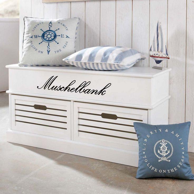 Truhenbank Maritim - MDF - Weiß; 100cm
