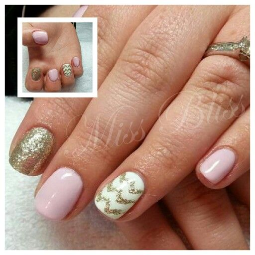 Pink and gold nails for a hens night by Miss Bliss Nails and Education Christchurch