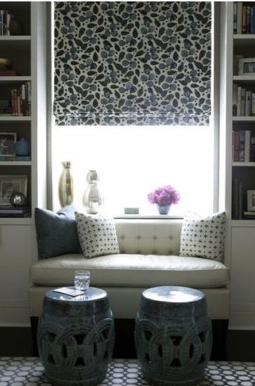 chinese garden stools in front of the window seat … use them as tables, use them as additional seating