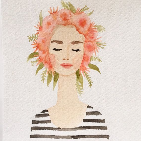 Watercolor flower crown lady. Love her chic stripes and coral lips.
