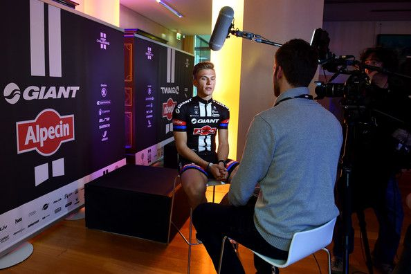 Marcel Kittel Photos Photos - Marcel Kittel of Germany speaks to the media during the teamlaunch of Team GIANT-Alpecin at the Fench Embassy on January 7, 2015 in Berlin, Germany. - Team GIANT Alpecin Team Launch