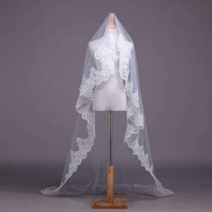 White / Ivory Lace Wedding Veil Bridal Veil 2.5 Meters Cathedral Long Wedding Veils Veu De Noiva Wedding Accessories