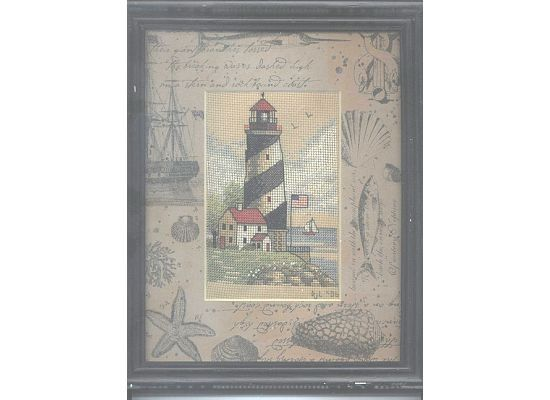 Completed Cross Stitch  Lighthouse at Sea by dannileifer on Etsy, $24.99