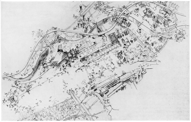 Hans Scharoun, Haupstadt Berlin Wettberwerbsentwurf, 1958, isometrische Darstellung