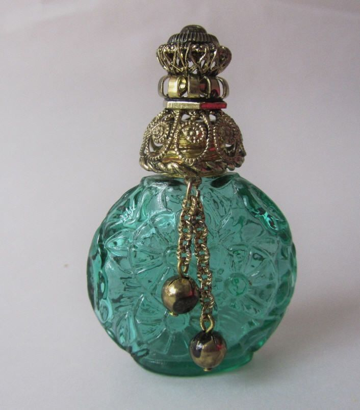 Vintage Czech Glass Bottles | Czech Decorative Green Glass Vintage Perfume Miniature Flacon Bottle