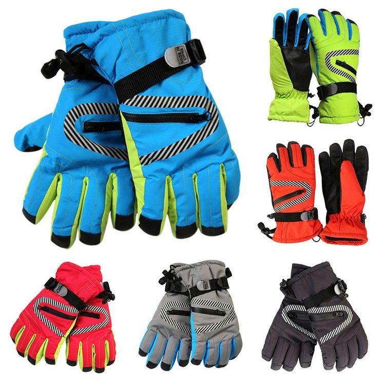 New Kids Ski Gloves Adjustable Buckle Waterproof Glove Snowboard Sport Equips