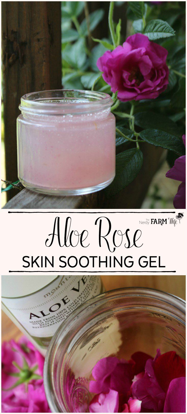 Aloe Rose Skin Soothing Gel - Aloe vera and fresh rose petals combine to make this soothing gel that's useful for sunburn, bug bites, rashes, dry skin, eczema, psoriasis, razor burn, minor cuts/scrapes and radiation burns.