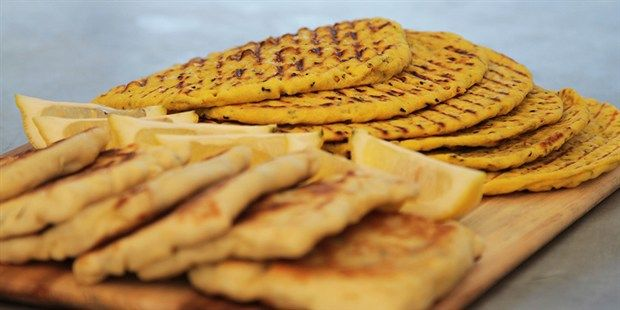 Try this Besan Flour Flatbreads and Halloumi Gozleme  recipe by Chef James. This recipe is from the show The Great Australian Bake Off.