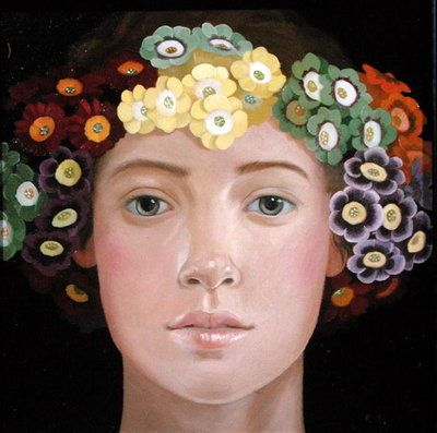 ⊰ Posing with Posies ⊱ paintings of women and flowers - Lizzie Riches   Flora, 2003