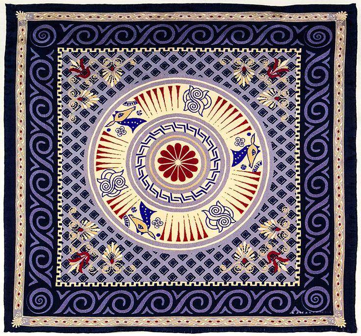 Fabric : 100% Pure Silk Type   : Foulard 7m/m Print   : digital Hand-rolled edges Dimensions  : 50x50cm / 19''x19'' Theme : Ancient Greek Motifs 17-50-113-Dark Purple