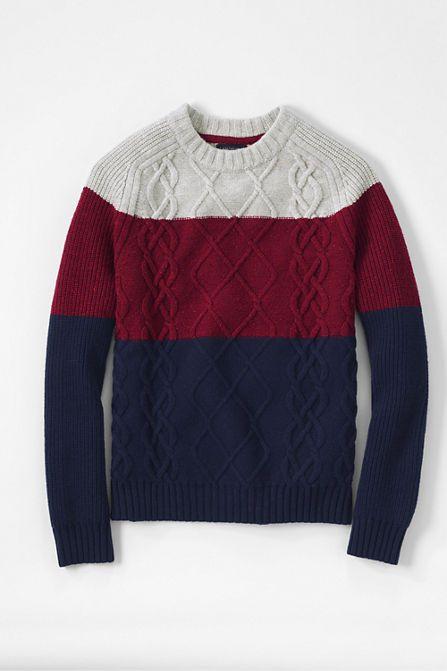 Men's Colorblock Lambswool Aran Crewneck Sweater