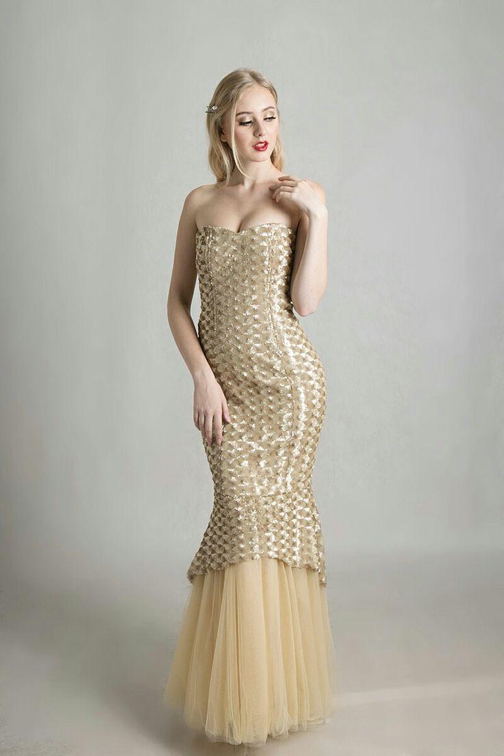 gold mermaid dress by Ivone Sulistia