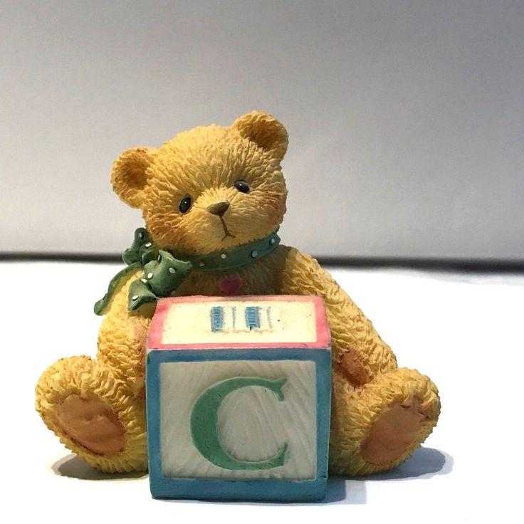Cherished Teddies Figurine Bear With C Block 158488C Priscilla Hillman #EnescoCherishedTeddies
