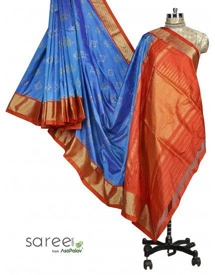 Blue and Red Patola Saree