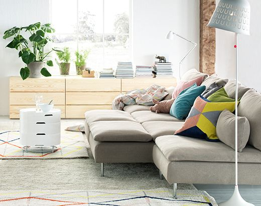 IKEA modular sofa with all pieces pushed together. 2 chaises - $300 each 2 single sections - $259 each