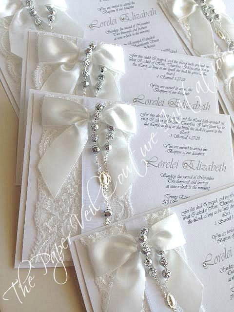 Vintage lace rosary bead white invitations