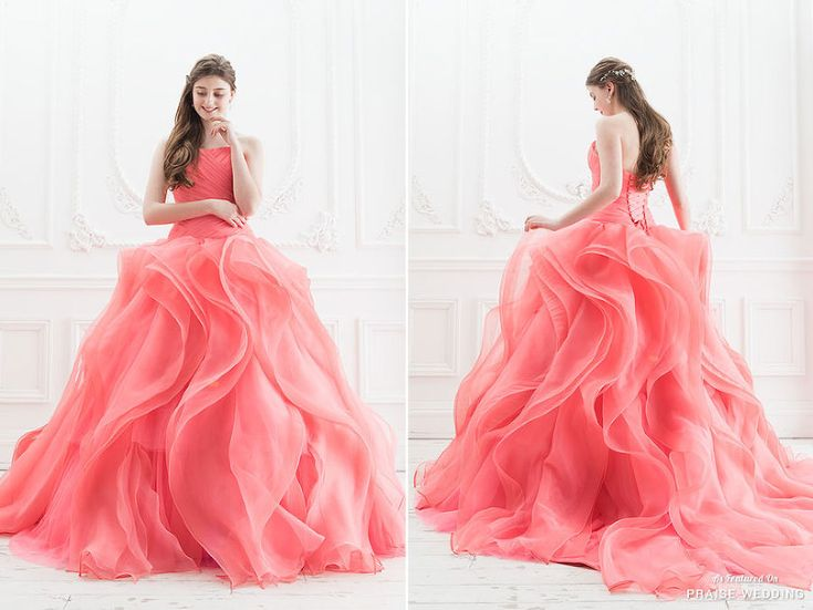 A jaw-droppingly beautiful coral gown from Cinderella & Co.! In love with this romantic color!