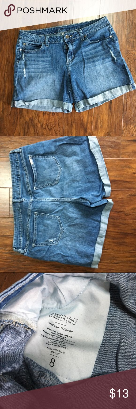Jennifer Lopez Distressed Boyfriend Shorts The perfect boyfriend shorts for the summer! Only worn a handful of times and I am just not a Shorts person. In perfect shape! Jennifer Lopez Shorts Jean Shorts