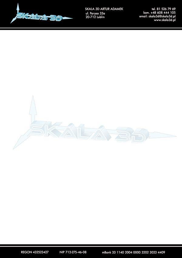 Projekt papieru firmowego dla firmy Skala 3d