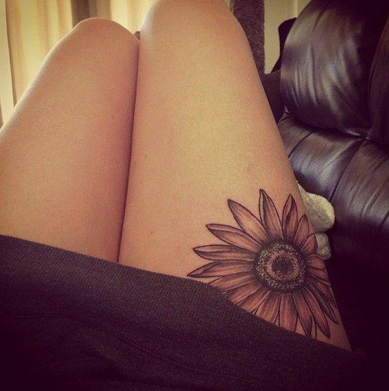 sunflower tatoos ln the thigh - Google Search