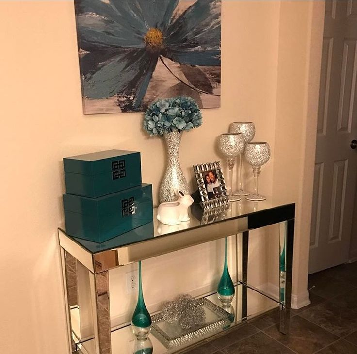Azul turquesa y plata decoraciones para la casa en 2019 for Decoracion del hogar facil y economico