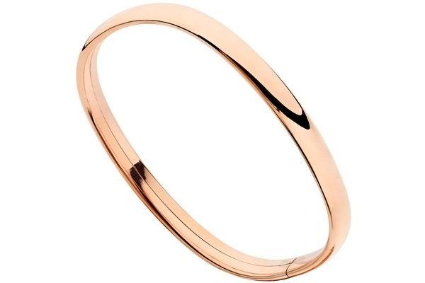 Bracelet jonc intemporels en argent 925, dorure or rose, 8.33g, Ø60mm Clio Blue