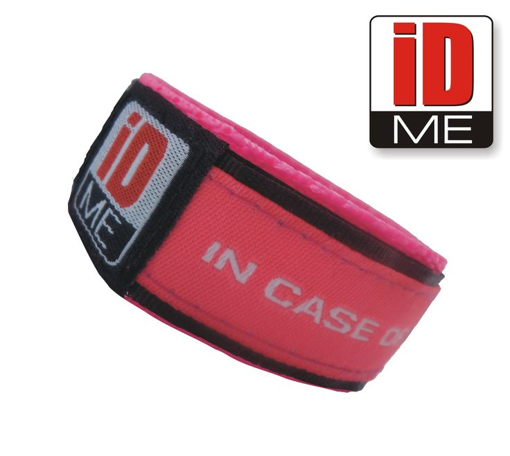 Pink IDME wristband Child ID / Adult ID Bands Sports ID, Medical ID, Allergy ID, ICE ID