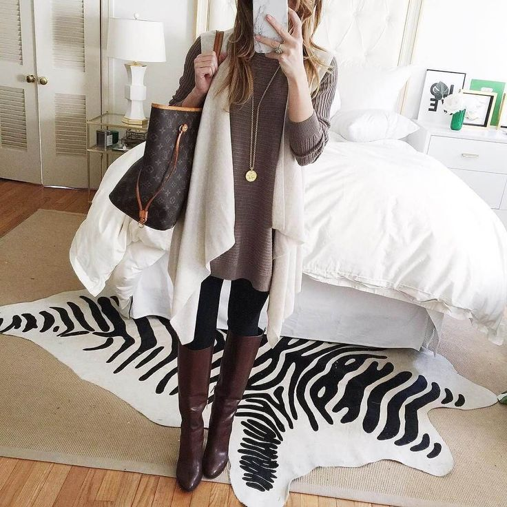 brightonkeller instagram january tunic sweater, leggings, tall brown boots, waterfall open front vest, gold pendant necklace winter outfit
