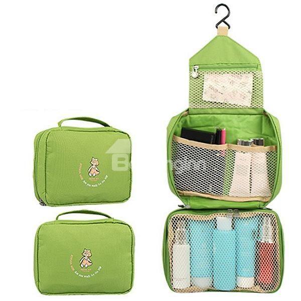 Green Waterproof Oxford Cloth Hanging Toiletry Bag Travel Mall Makeup Organizer