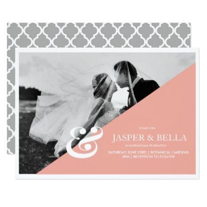 Blush Pink Ampersand Wedding Invitation - chic design idea diy elegant beautiful stylish modern exclusive trendy