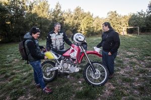 The CEO of Tracklander says goodbye to his motorcycle before he hides it for a contest