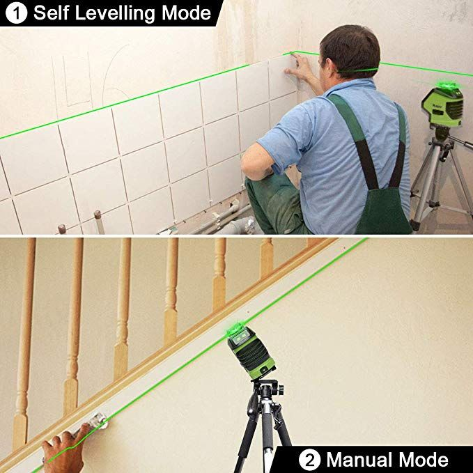 Huepar Self Leveling Green Laser Level 360 Cross Line With 2 Plumb Dots Laser Tool 360 Degree Horizontal Line Plus Large Fa Laser Levels Green Laser Large Fan