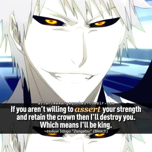 """If you aren't unwilling to assert your strength and retain the crown then I'll destroy you. Which means I'll be king. ~Hollow Ichigo """"Zangetsu"""" (Bleach)"""